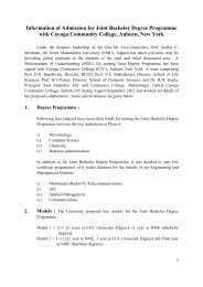 Joint Bachelor Degree Programme with Cayuga Community College ...