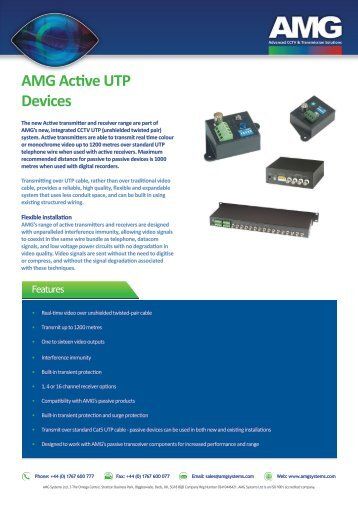 AMG1000 series Active UTP Devices - AMG Systems