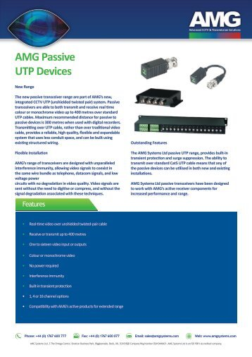 AMG1000 series Passive UTP Devices