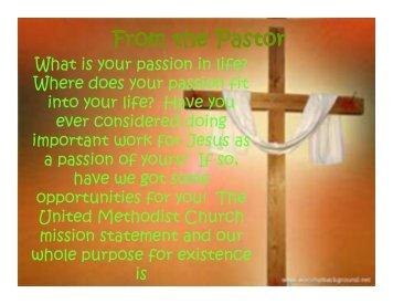 From the Pastor - Salem United Methodist Church