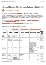Daniel Blumin: Playlist from February 23, 2013 - Atom TM