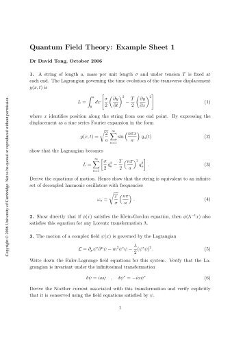 Quantum Field Theory: Example Sheet 1