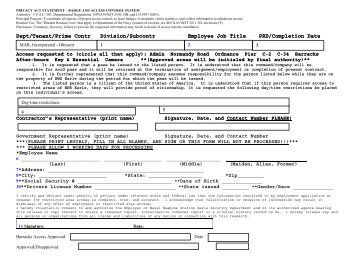Navy Base Security Clearance Form and Instructions ... - Ohmsett
