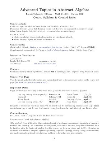 Advanced Topics in Abstract Algebra - Loyola University Chicago