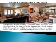 Purchase an Investment Condo at Park City Utah