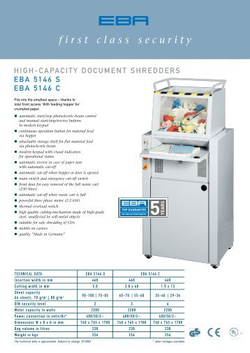 shredder EBA 5146 S, EBA 5146 C data sheet - paper shredders