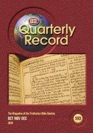 Quarterly Record 593 - Trinitarian Bible Society (Australia)