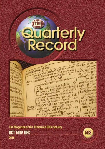 Quarterly Record 593 - Trinitarian Bible Society (Australia)