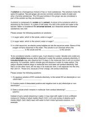 Solutions Worksheet - Worcester Think Tank