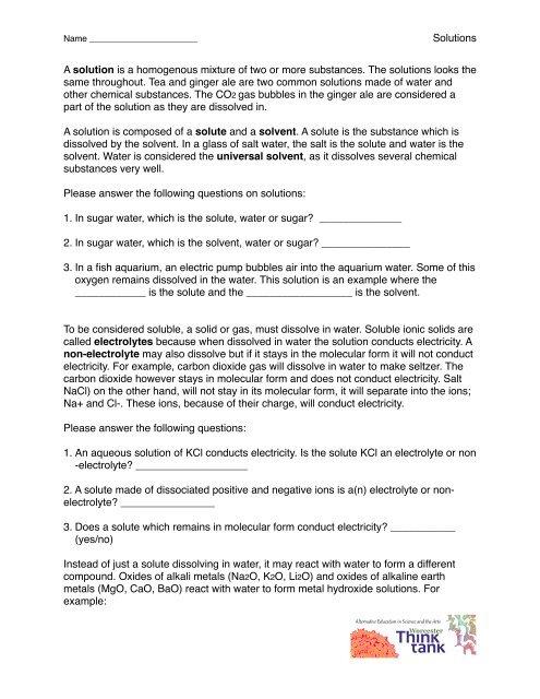 Solutions Worksheet Worcester Think Tank