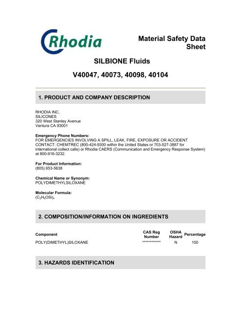Material Safety Data Sheet SILBIONE Fluids V40047