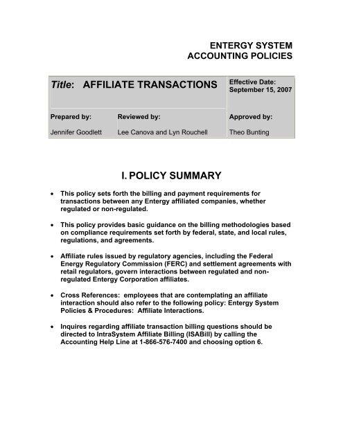 Affiliate Transactions Entergy Arkansas