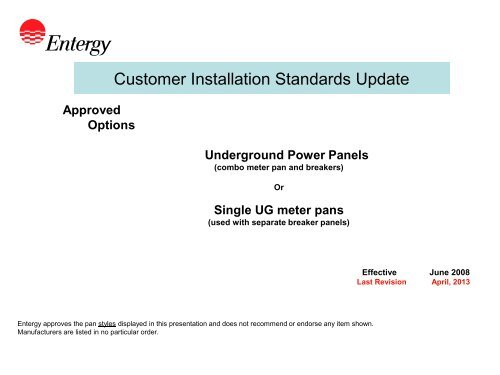 Customer Installation Standards Update - Entergy New Orleans