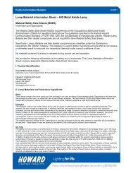 Metal Halide Lamps Material Safety Sheet