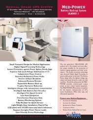 MED-POWER Specifications - Online Power, Inc.