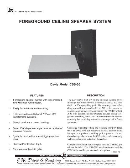 FOREGROUND CEILING SPEAKER SYSTEM - JW Davis & Company