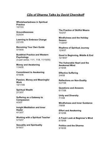 List of Talks By David Chernikoff - Insight Meditation Community of ...