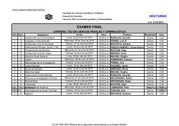 Examenes Finales  2015 TSU