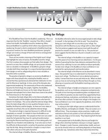 July – September 2011 Newsletter - Insight Meditation Center