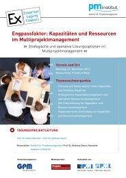 Engpassfaktor: Kapazitäten und Ressourcen im ... - speed4projects