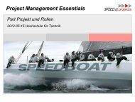 Basics und Singleprojektmanagement - speed4projects