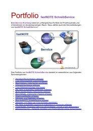 Portfolio Serviceleistungen fastNOTE SchreibService