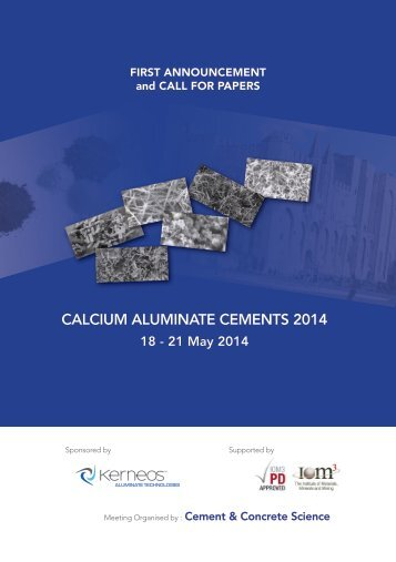 CALCIUM ALUMINATE CEMENTS 2014 - Conference on Calcium ...