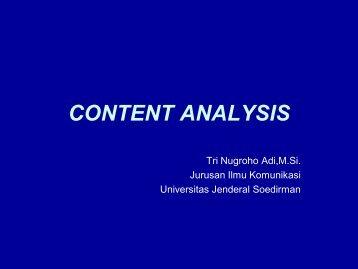 CONTENT ANALYSIS - S1 Ilmu Komunikasi UNSOED
