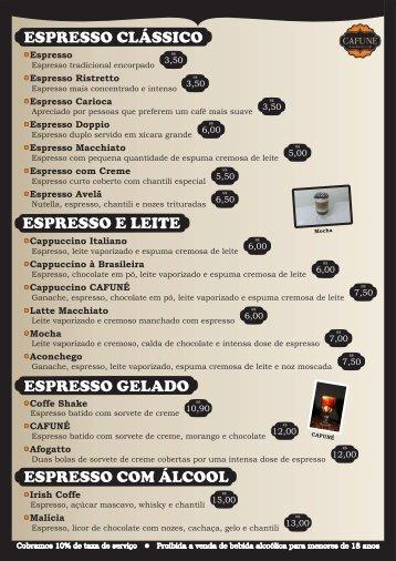 Cardápio CAFUNÉ