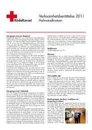 Verksamhetsberättelse 2011 - Svenska Röda Korset