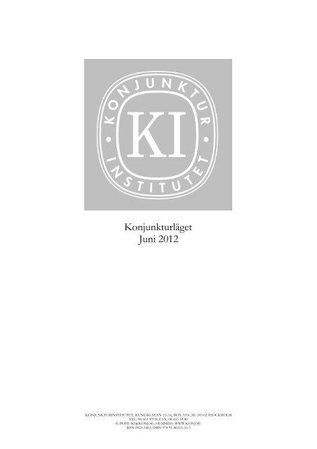 Konjunkturläget juni 2012 - Konjunkturinstitutet