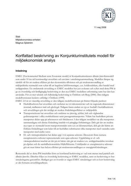 Kortfattad beskrivning av Konjunkturinstitutets modell för ...