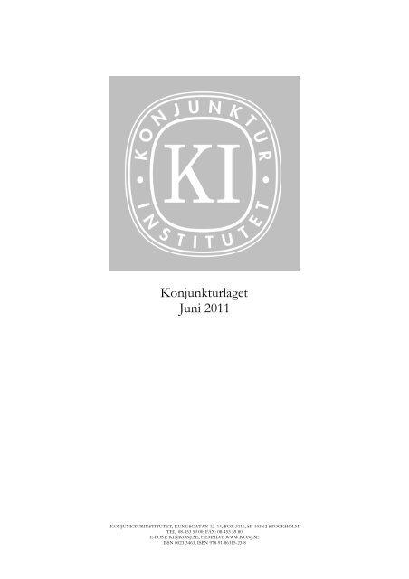 Konjunkturläget juni 2011 - Konjunkturinstitutet