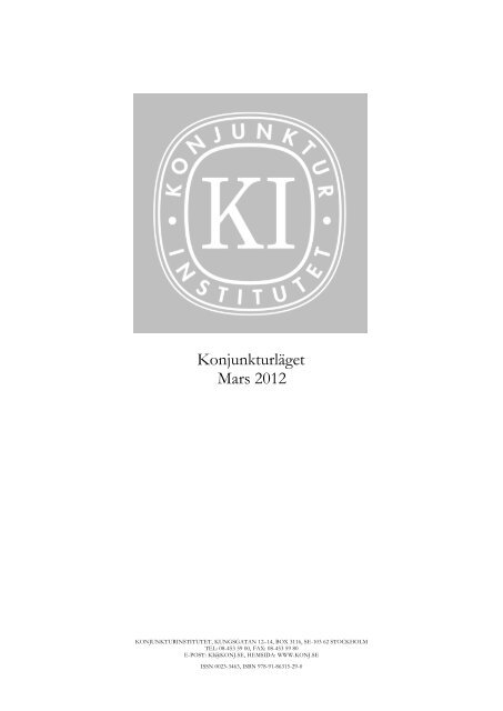 Konjunkturläget mars 2012 - Konjunkturinstitutet