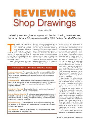 REVIEWING Shop Drawings - Modern Steel Construction