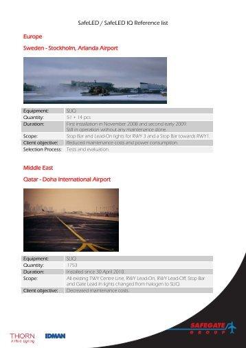 SafeLED / SafeLED IQ Reference list Europe Sweden ... - Safegate