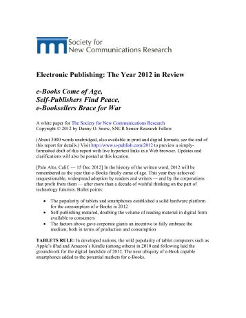 Electronic Publishing: The Year 2012 in Review e-Books Come of ...