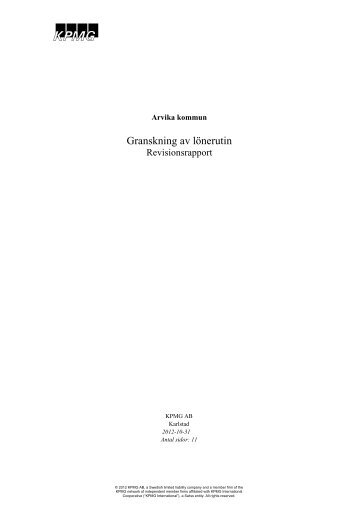 Granskning av lönerutin.pdf - Arvika kommun