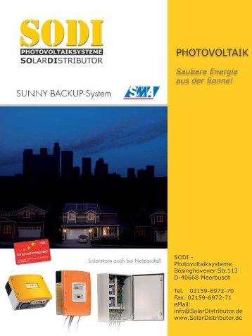 Datenblatt Sunny - Backup - SODI-Photovoltaiksysteme