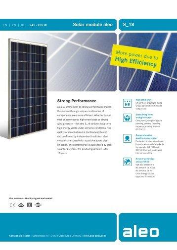 Datasheet Solar module aleo S_18 245-255W EN-EN-DE