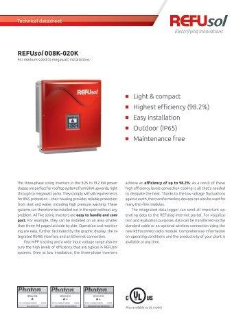 REFUsol 008K-020K Lightweight & compact Highest ... - Europe