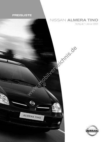 Preisliste Nissan Almera Tino, 1/2005 - mobilverzeichnis.de