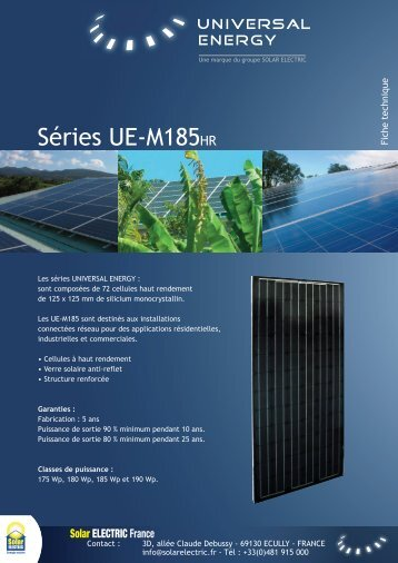 Cliquez ici pour télécharger la fiche produit - Solarelectric.fr
