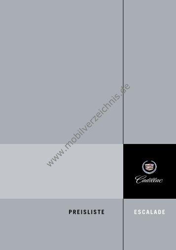Preisliste Cadillac Escalade, 2/2005 - mobilverzeichnis.de