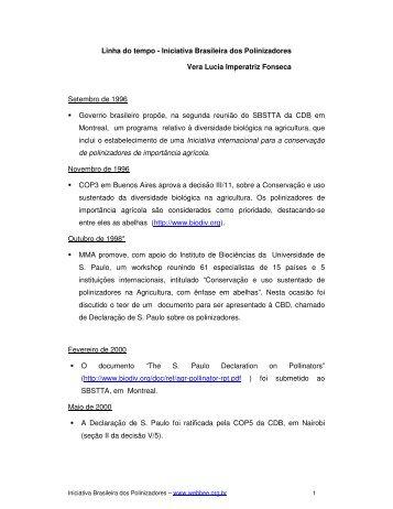 Linha do tempo - Iniciativa Brasileira dos Polinizadores ... - WebBee