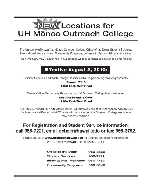 Campus Map with new locations and relocation ... - Outreach ...