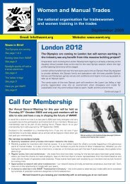 Autumn 2005 Newsletter - Women and Manual Trades