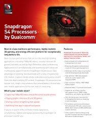 Snapdragon™ S4 Processors by Qualcomm - Qualcomm Developer ...