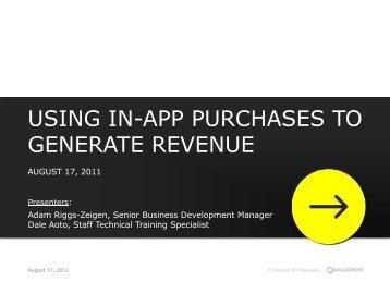using in-app purchases to generate revenue - Qualcomm Developer ...