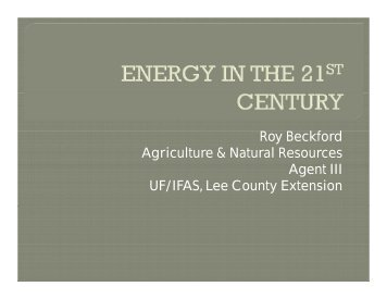 Energy in the 21st Century - Sarasota County Extension